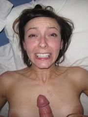 Facialized girlfriend shows her breasts