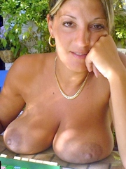 Sexy wife shows her big natural breasts