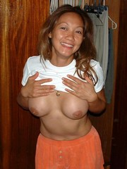 Asian wife shows herself and getting..