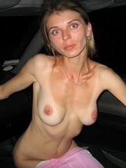 Sexy Ukrainian wife naked in the car