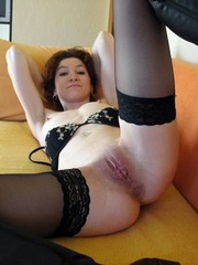 Horny brunette wife in stockings gives..