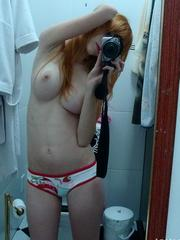 Shaved redhead gf with firm breasts..