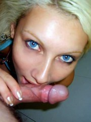 Blue eyed blonde gf sucks cock and gets..