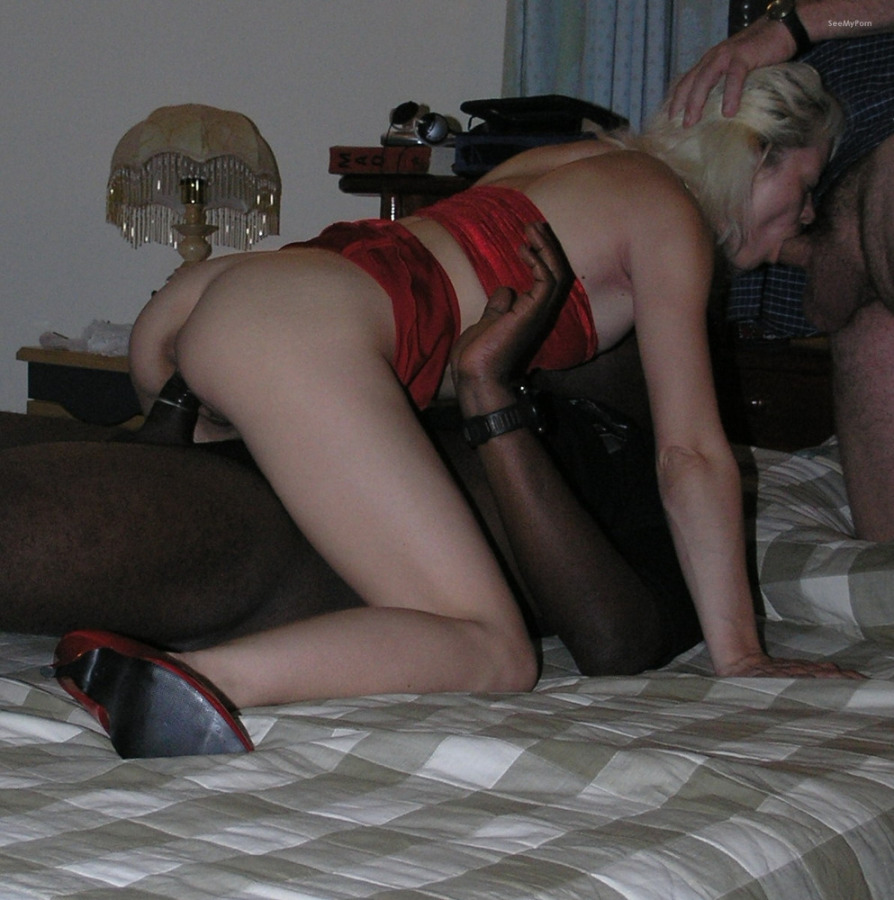 Blonde hottie sucks cock like her life depends on it