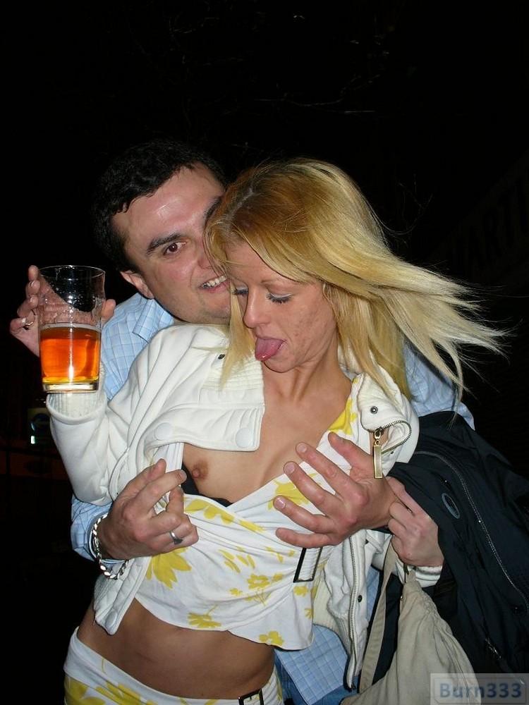 Groping tits in public