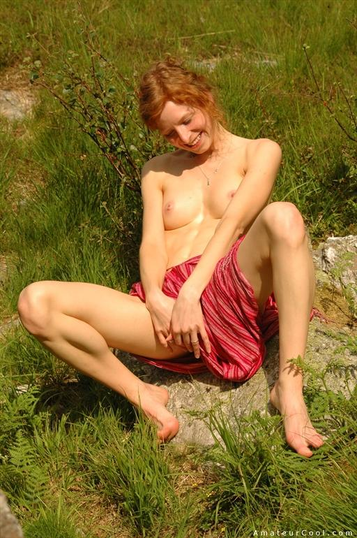Wife outdoor redhead asian