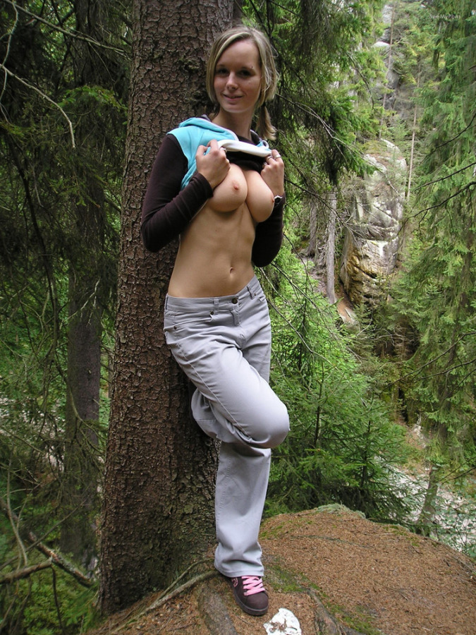 Hot wife exhibitionist flashing body parts outdoors and on..