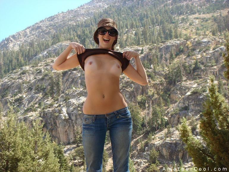 Description: Cute gf with pierced nipples flashes her breasts