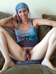 Hairy girlfriend spreads and gets fucked